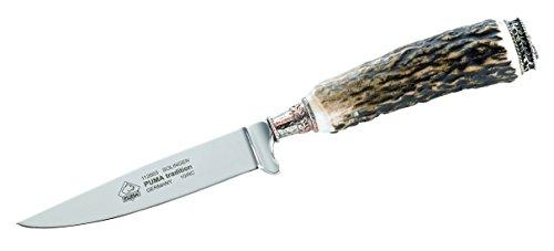 Puma Jagdmesser, Modell Tradition, Stahl 1.4116, Hirschhorn, Leder-Steckscheide