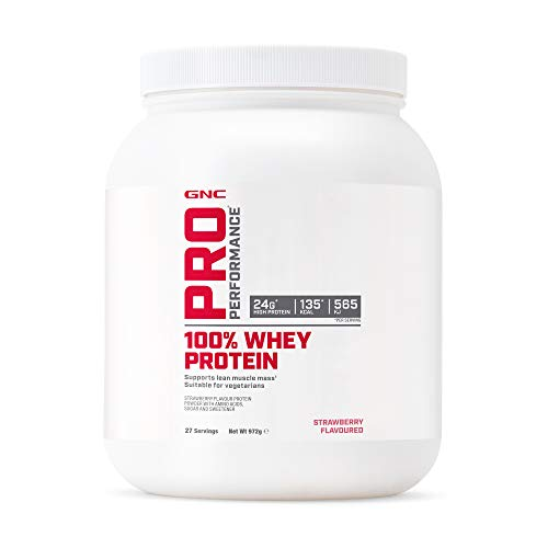 GNC Pro Performance 100% Whey Protein Powder - Fresa, 27 porciones, apoya la masa muscular magra ✅
