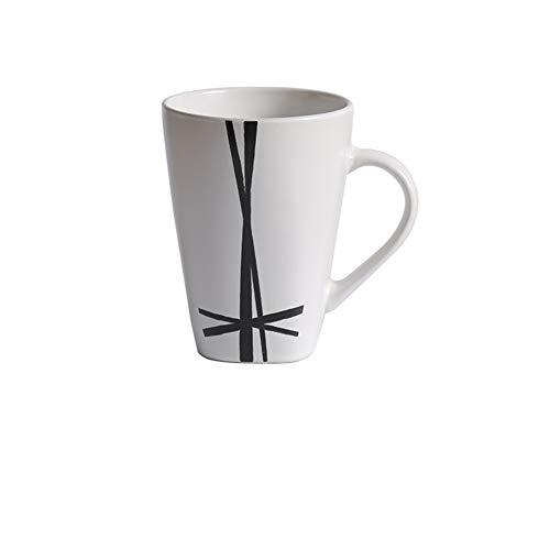 TELLW Mug grand volume créatif vintage en céramique avec cuillère pour café, lait, petit-déjeuner, bureau, eau