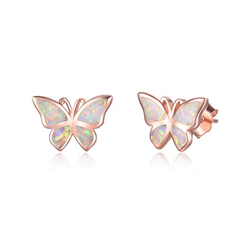 WINNICACA Butterfly Earrings Sterling Silver Simple Rose Gold Opal Studs Earrings Jewellery for Women Girlfriend Christmas Gifts