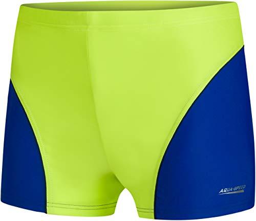 Aqua Speed Trunks Badehose Kinder Jungen + gratis eBook | Schwimmhose | Badebekleidung | UV Schwimmbekleidung | Gr. 134 | 82. Hellgrün Blau | Leo