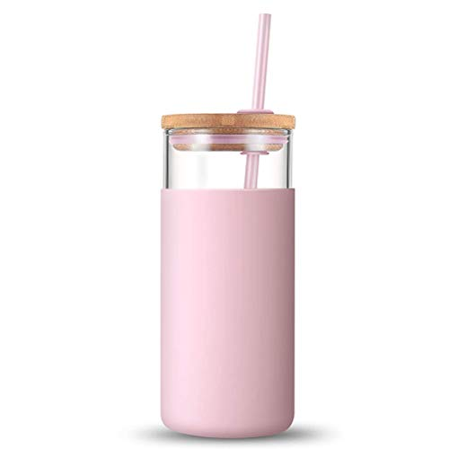 Atrumly Trinkhalmbecher, Trinkbecher Glas Kaffeebecher mit Strohhalm und Deckel, 500 ml, transparente Glas-Wasserflasche, ideal für Eiskaffee, Wasser-Shakes, rosa