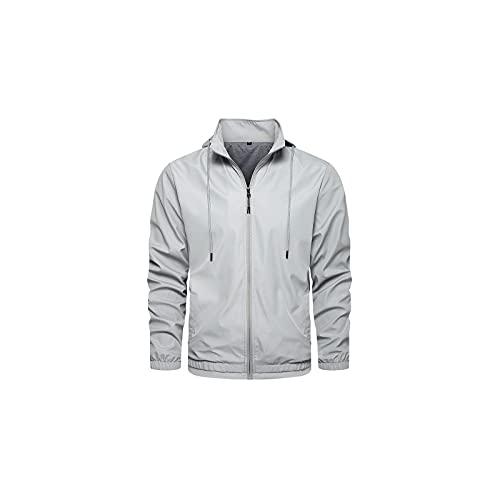 Wzdszuiljk Chaqueta, Chaquetas, Primavera Otoño Chaqueta Hombres Hombres Bomber Chaqueta Casual Streetwear Hombre Chaquetas Y Abrigos Cortavientos Simple Style Coat (Color : Gray, Size : Large)