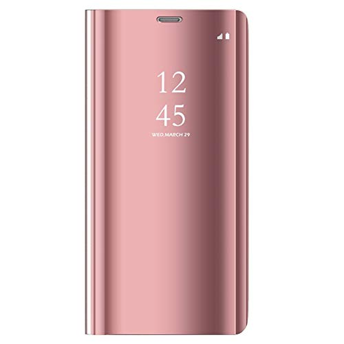DWaybox Custodia for Google Pixel 3a Clear View Mirror Flip Stand Hard Custodia Cover Compatible with Google Pixel 3a 5.6 inch (Rose Gold)