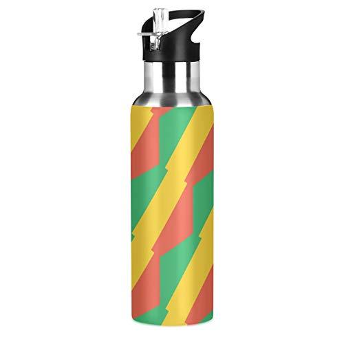 Trinkflasche mit Kongo Brazzaville Flagge, Sport, Edelstahl, 304, vakuumisolierte Wasserflasche mit Strohhalm (600 ml)