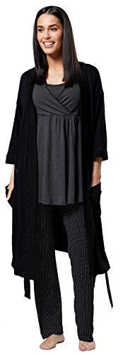 HAPPY MAMA Femme Maternité Ensemble Pyjama/Pantalon/Haut/Robe Chambre 558p (Graphite Mélange & Noir à Pois, 36, S)