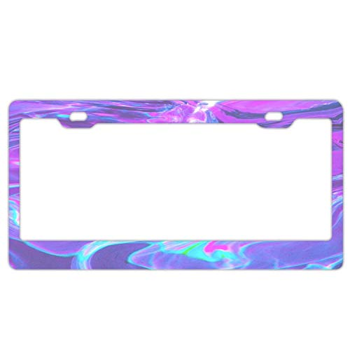 Hopes's Auto Decorative Frames Black Aluminum Metal License Plate Frame for Women/Men, Custom Holographic Car License Plate Cover Holder for US Vehicles - Violet Abstract Wave Psychedelic Holographic