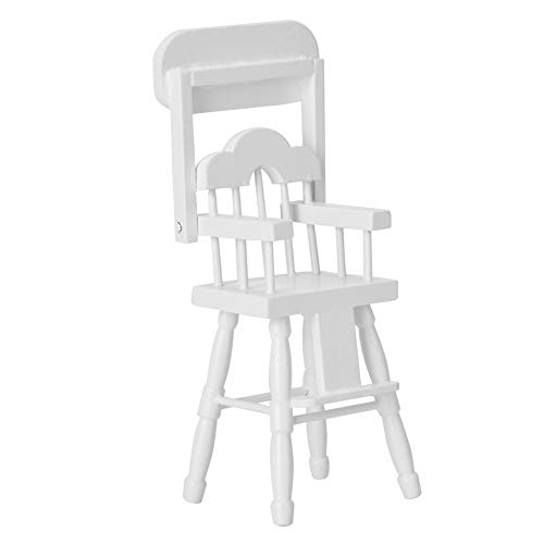 Silla alta para casa de muñecas, silla alta en miniatura, accesorios para casa de muñecas en miniatura Silla alta para casa de muñecas 1/12 modelo de silla alta de comedor en miniatura para
