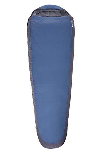 Mountain Warehouse Microlite 500 Schlafsack - 14 cm x 35 cm, 2-Wege-Reißverschluss-Campingtasche Marineblau Reißverschluss Links - reg. Länge