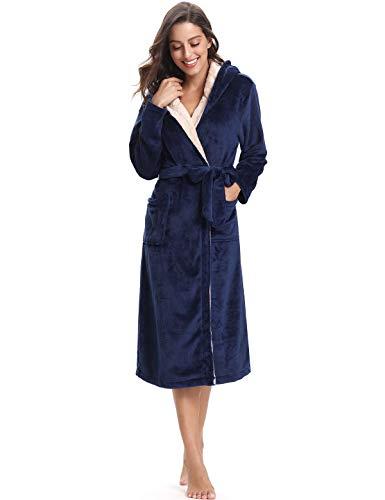 Abollria Albornoz Unisex Otoño Invierno Unisex Coral Fleece Mujer Batas Fashion Elegantes Vintage Cómodo Kimono Manga Larga con Bolsillos Camisón (S, Azul Marino)
