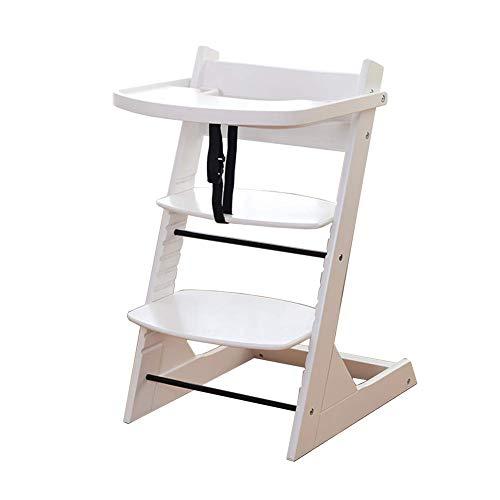 YLCJ hoge stoelen voor baby's, eettafelstoelen, stoelen, ruststoelen van massief hout, demonteerbaar voor thuis (kleur: bruin, maat: groot) Large Wit