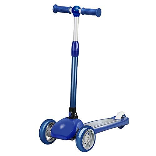 Patinete Scooter para Niños de 1-3 Años Niñas Niños Plegables Kids Scooter PU Que Parpadean Ruedas Magra para Dirigir (Color : Blue)