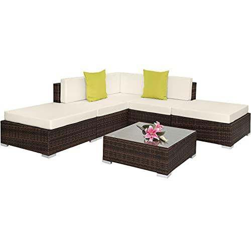 YIE Aluminium Luxury Rattan Garden Patio Furniture Sofa Lounge Table Set Wicker (Color : Antique Brown)