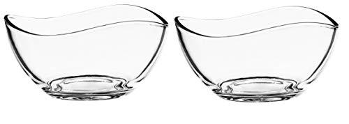 KADAX Schüssel aus Glas, Schale mit gewellten Rändern, Salatschale mit verstärktem Boden, Desertschale, Glasschale, Salatschüssel (⌀ 10,5cm, 2 Stück)