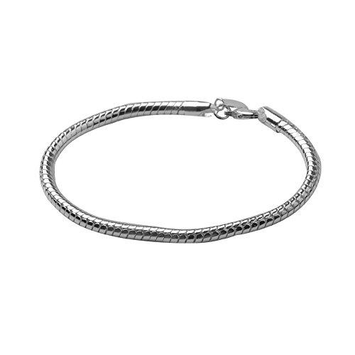 Preciosa pulsera NYKKOLA de plata de ley 925 con cadena de simulación de piel de serpiente para hombre y mujer.