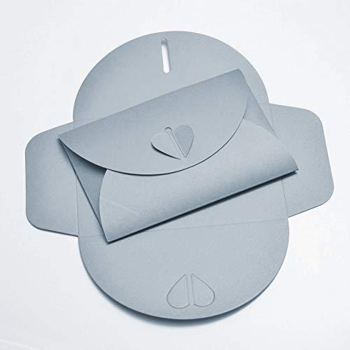 20 silberne Herz-Briefumschläge aus glitzerndem Pearl-Karton, C6 = 162 x 114 mm, z.B. für Einladungen zur Hochzeit, Silberhochzeit, Verlobung, als Liebesbrief (Silber)