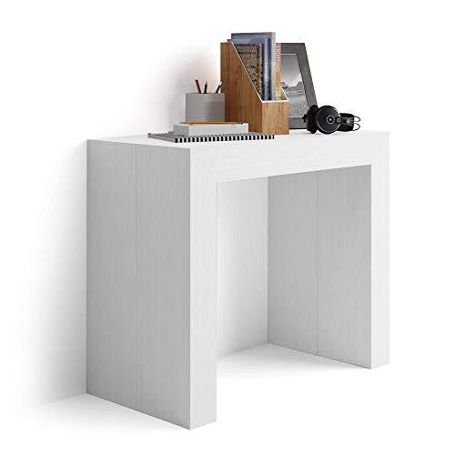 Mobilifiver Mesa Consola Extensible, Modelo Angelica, Color Blanco Ceniza, 45 x 90 x 76 cm