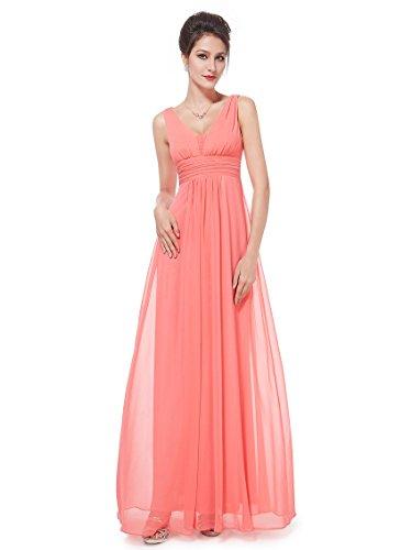 Ever-Pretty Damen Chiffon V-Ausschnitt Lang Abendkleider Abschlussball Kleider Größe 44 Koralle