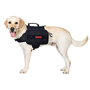 OneTigris Dog Backpack for Hiking Nylon Dog Harness Backpack with Side Pockets for Large Dog with 22″-31.5″ Neck Girth and 29″-35.8″ Chest Girth (Black, Large)