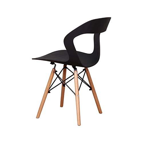 WV LeisureMaster Nordic sedia moderna per il tempo libero e traspirante schienale 4/6 (nero, 6)