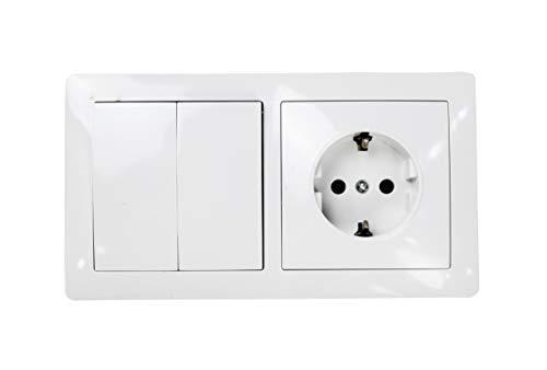 Interruptor doble con base schuko color blanco 10AX,16A,250V. (DOBLE INTERRUPTOR+1ENCHUFE)