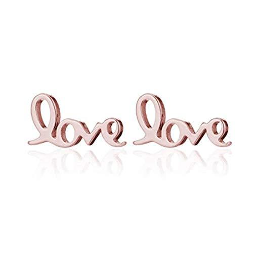yichahu Pendientes de acero inoxidable con diseño de letra geométrica, con forma de corazón, para mujer, oro rosa