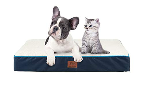 SunStyle Home Reversible Pet Dog Bed for Small, Medium, Large Dogs Up to 50/75/100lbs, Pet Mat with Waterproof Removable Cover Bed for Cats - Orthopedic Egg Crate Foam Platform (Large, Dark Blue) Beds