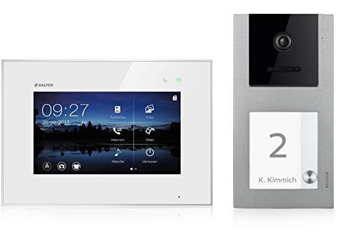 BALTER EVO Video Türsprechanlage ✓ Touchscreen 7 Zoll Monitor ✓ Smartphone App ✓ 2-Draht BUS ✓ Aufputz Türstation für 1 Familienhaus ✓ 1 Türklingel ✓ RFID Funktion (1 Monitor, Ohne App)