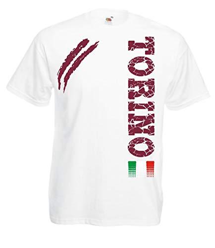 Generico t-Shirt Torino Tifosi Ultras Calcio Sport dalla S alla 3XL e 4 Colori Disponibili(12 Anni, Bianco)