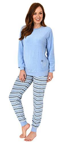 RELAX by Normann Damen Frottee Pyjama Langarm mit Bündchen, Streifenhose und Eiskristall-Motiv - 291 13 571, Farbe:hellblau, Größe2:40/42