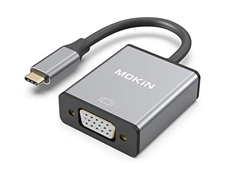 USB C to VGA Adapter,MOKiN USB C(Type C) to VGA Adapter Cable for MacBook Pro 2018/2017, iPad Pro/MacBook Air 2018, Samsung Galaxy S9/S8, Surface Go and More Newest Updated Version (Space Gray)