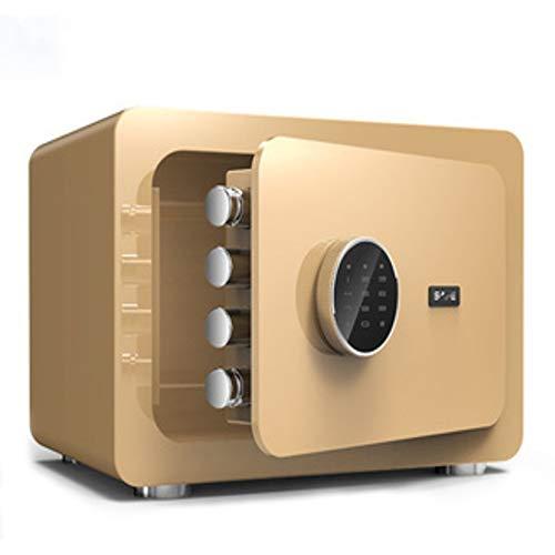 Cajas fuertes pequeñas para el hogar, 16L de alta seguridad con contraseña digital para caja fuerte electrónica ignífuga para proteger sus objetos de valor, 25 x 35 x 25 cm(oro tirano)