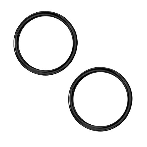 Afftiny 2PCS 16 Gauge 10mm Septum Nose Ring Black Seamless Hinged Hoop Earrings, 316L Surgical Steel/Titanium Clicker Endless Segment Body Cartilage Piercing Jewelry