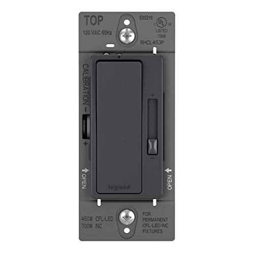 Legrand radiant Dimmer Light Switch, for Dimmable LED Lights, 450W LED and CFL Bulbs - 700W Incandescent & Halogen, Graphite, RHCL453PGCCV4