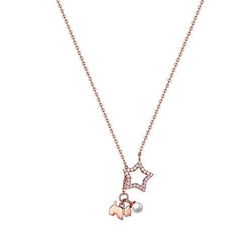 collares de mujer de moda 925 cadena de plata esterlina lindo collar pendiente de la estrella Animal 18 -20inch joyería del regalo de cumpleaños muchachas de las mujeres Collar Dia De La Madre Regalos