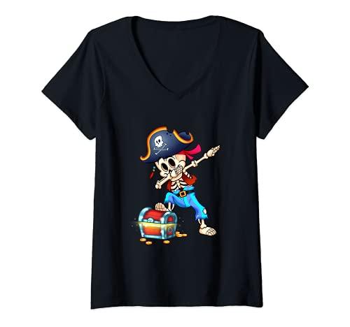 Mujer Esqueleto Dabbing Pirata Divertido Halloween Camiseta Cuello V