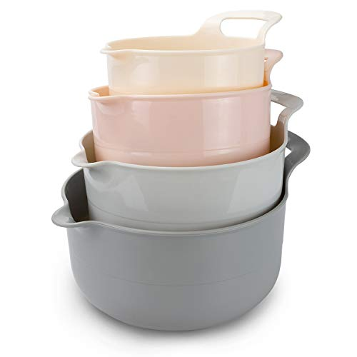 4 Piece Nesting Plastic Mixing Bowl Set with Pour Spouts and Handles