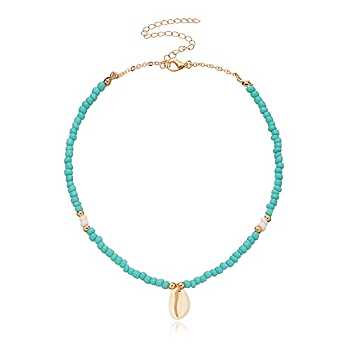 CYWQ Collar bohemio con colgante de concha natural turquesa con cuentas de cadena de concha