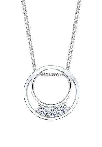 Elli Halskette Damen Halbmond Cut-Out Modern mit Zirkonia Kristalle aus 925 Sterling Silber