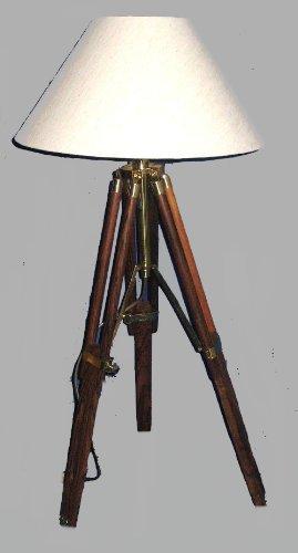 magicaldeco Stehlampe- Tripod- Dreibeinlampe- Retro Klassiker aus Holz und Messing, Stoffschirm