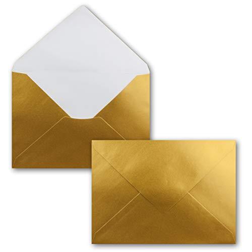 25x Mini Brief-Umschläge - Gold Metallic - 5,2X 7,6 cm -x Miniatur Kuverts mit Nassklebung für Blumen-Grüße, Grußkarten, Anhänger & Geld-Geschenke - FarbenFroh by GUSTAV NEUSER