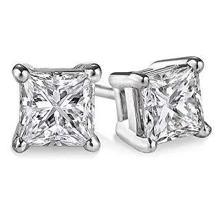 Solitaire-Ohrringe mit Diamanten von 2,00 ct, massiv, 14 Karat Weißgold, 1 Paar (Princess-Schliff, 14 Karat Weißgold)…