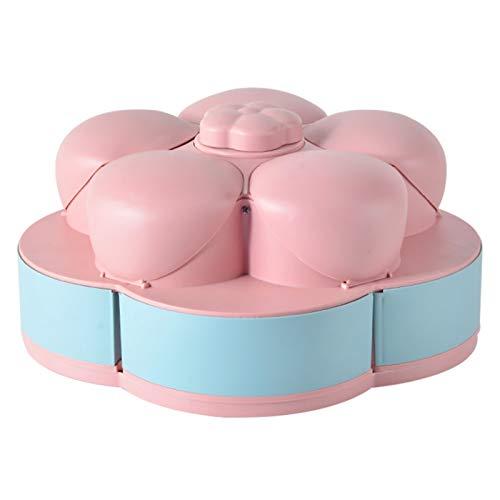 Teeyyui, contenitore girevole a forma di fiore, contenitore per caramelle a doppio strato, contenitore in plastica a forma di petalo con 10 scomparti, perfetto per frutta secca e frutta secca (rosa)