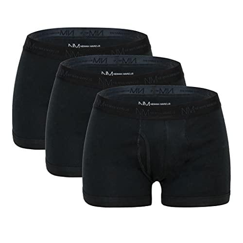 3-Pack Neiman Marcus Tagless 100% Cotton Men's Boxer Briefs (Black, XL)