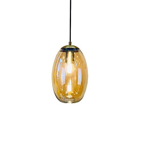 Lámpara Colgante Simple Moderna nórdica Pantalla de Cristal Ovalada Lámpara Colgante Lámpara de Techo E27 de una Sola Cabeza Lámpara de araña para Dormitorio Living Roo