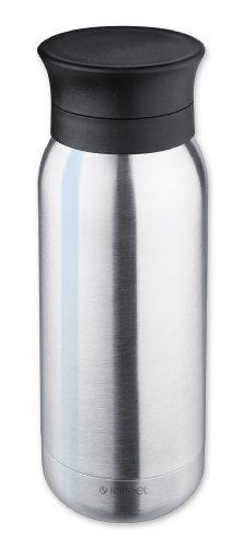 Isosteel VA-9717 Vacuüm geïsoleerde drinkfles 0,35 liter, 18/8 roestvrij staal, anti-slip bodem, drinkdeksel met borghouder isolatie, drinkfles