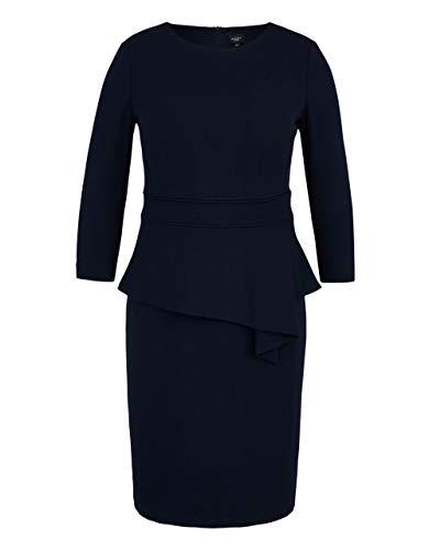 Bexleys Woman by Adler Mode Damen Crêpe-Kleid mit Schößchen Marine 48