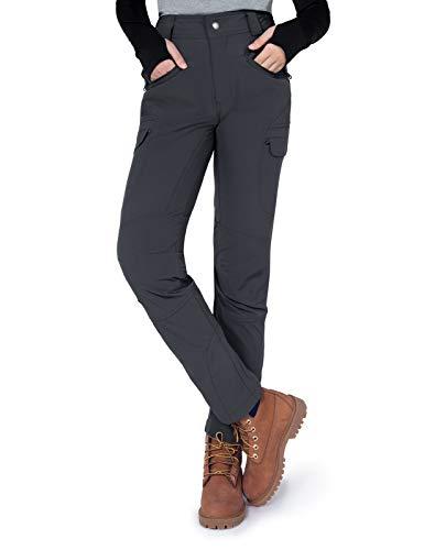Gouxry Pantalones de senderismo para mujer, pantalones de trekking, ligeros, para exteriores, elásticos, de verano, con 4 bolsillos con cremallera, transpirables, para pesca, gris, XXL