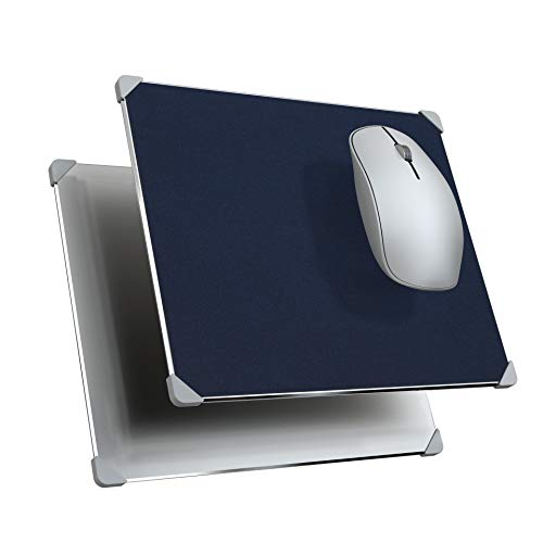 Hard Mouse Pad,Metal Aluminum & Leather Mouse Pads,Double Side Non-Slip Rubber Corner Mouse Mat,Fast and Accurate Control Mouse Pad for Office and Gaming (Dark Blue)