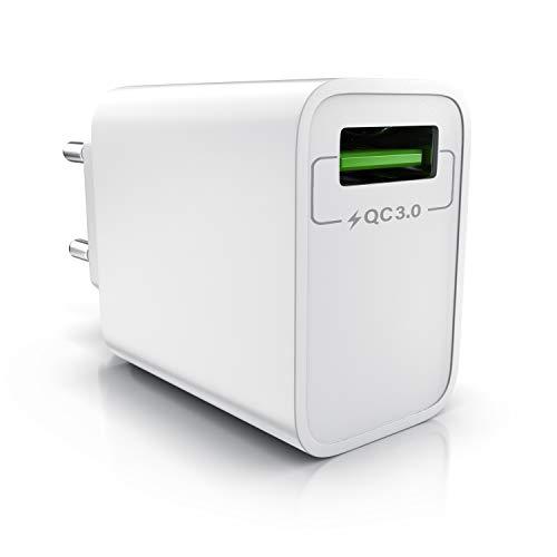 CSL - USB Ladegerät 18W Quick Charge 3.0 - Netzteil mit Schnellladefunktion - Smart Charge Solid Charge intelligentes Laden - geeignet für Handys Smartphones Navis Tablets UVM - weiß
